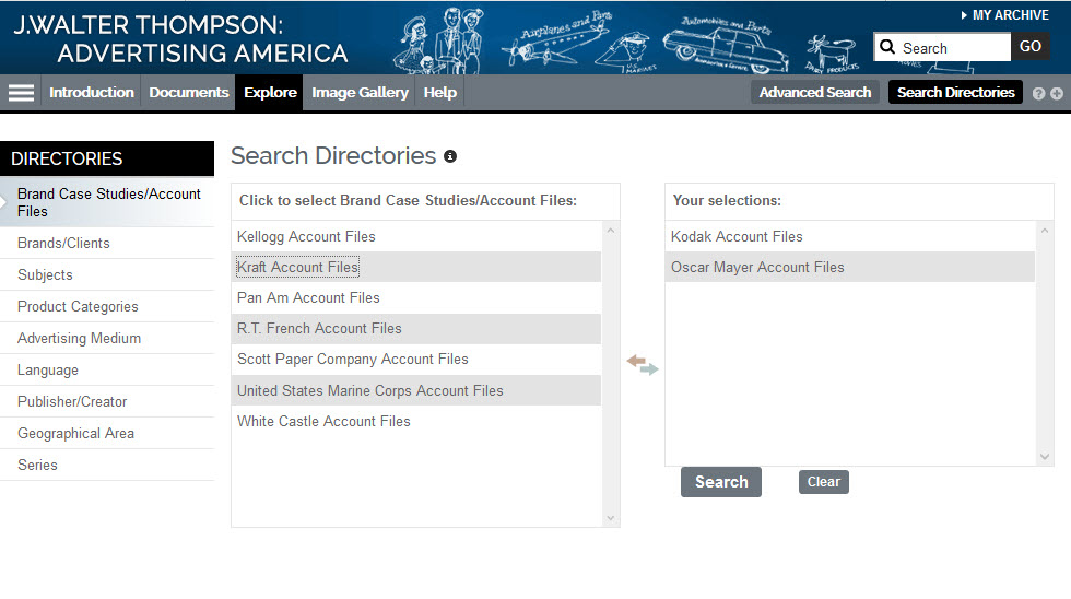 Screenshot showing how to make selections from the Search Directories.