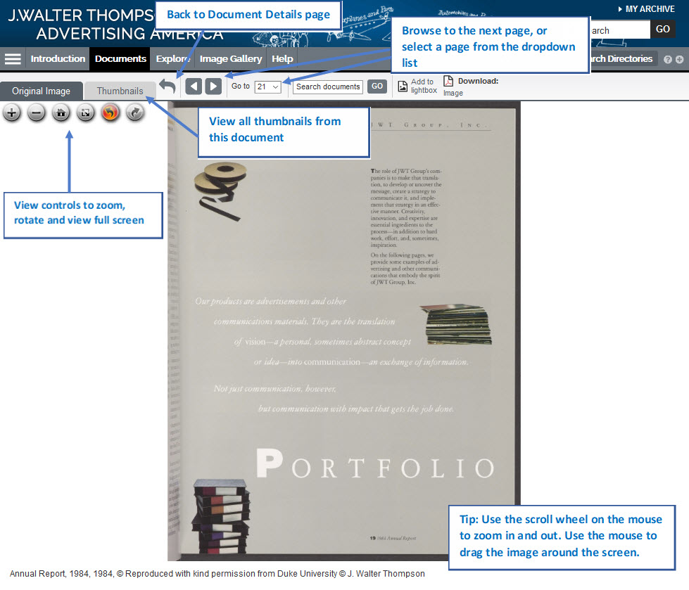 Screenshot showing controls to zoom, rotate and view a document full screen and navigation tips.