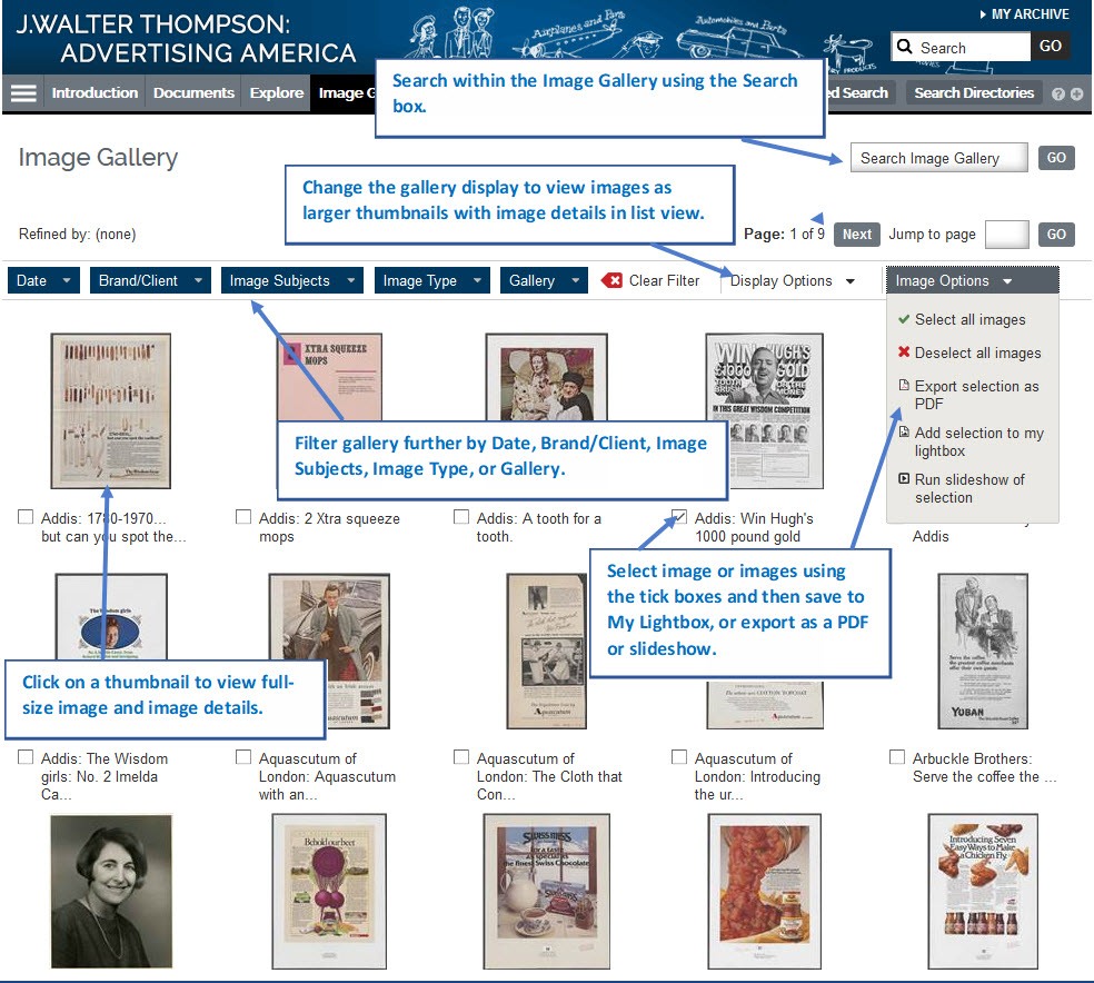 Screenshot of the Image Gallery with labels showing how to Search, Enlarge the thumbnails, filter the gallery, view a full-size image and select images.